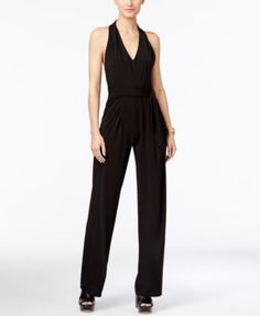 MICHAEL Michael Kors V-Neck Halter Jumpsuit $140.00 So sleek, this one-piece look from MICHAEL Michael Kors is a great way to redefine your wardrobe. Add a blazer for the workweek or statement accessories for a night out.