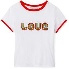 Rebecca Minkoff Iopeka Top Love (210 PLN) ❤ liked on Polyvore featuring tops, rebecca minkoff top and rebecca minkoff