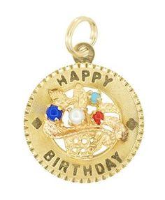 "Vintage Basket of Flowers ""Happy Birthday"" Charm in 14K Yellow Gold  - Item C587"