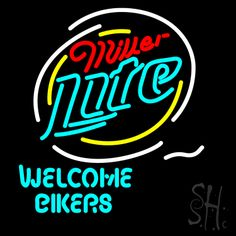Miller Lite Welcome Bikers Neon Beer Sign, Miller Lite Neon Beer Signs & Lights Neon Signs For Sale, Neon Beer Signs, Custom Neon Signs, Biker Party, Neon Light, Neon Words, Miller Lite, Pin On, Sign Lighting