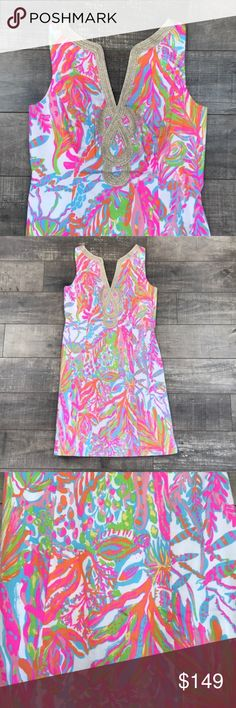 Lilly Pulitzer Scuba to Cuba Shift Dress Sold out everywhere! Super popular shift dress. Resort White - Scuba to Cuba White. Gold soutache neckline. Absolutely stunning dress! Still have tags! No trades. Lilly Pulitzer Dresses