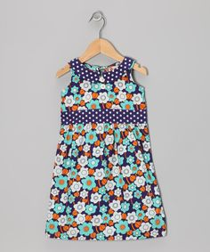 Take a look at this orange poppy kids Pool Blue Sixties Floral Dress - Toddler & Girls on zulily today!