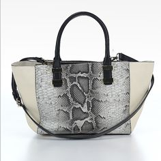Vince Camuto Leather Satchel Vince Camuto 100% leather shoulder bag with strap. Reptile print accent panel. This is new without tags. No signs of damage or wear. 16 in width X 9in height X 4 in depth. Ships within one week. Vince Camuto Bags Shoulder Bags