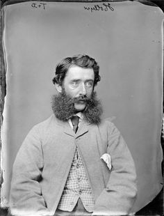 Mr Hollyer with luxuriant whiskers worn in the 'friendly mutton chops' style - Photograph taken by Thompson & Daley of Whanganui 1870-89