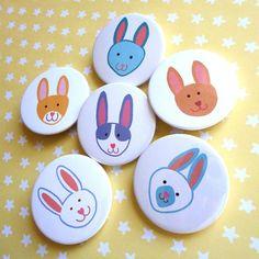 Six Rabbit Pinback Button magnets £5.60