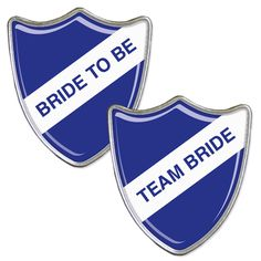A Blue bride to be badge with accompanying team bride badges.