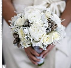 white lisianthus, brunia berries, roses