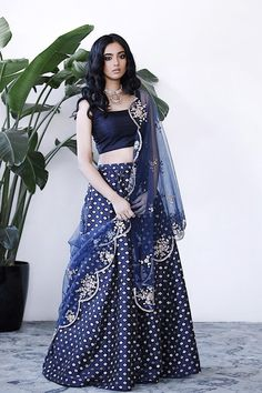 Beautiful navy blue with gold embroidered lehenga set for sister of the bride. Click on image for price. #Frugal2Fab