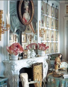 the mantle...art, tablescape, textures, fabric--everything is enchanting!