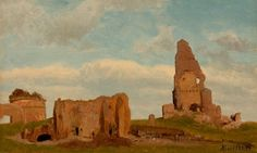 new to site ALBERT BIERSTADT (American, 1830-1902). Ruins-Campagna of Rome, 1867. Oil on card. 8 x 13 inches