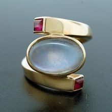 Antonio Pineda 14k Moonstone & Ruby Ring...make this white gold and I'm in love.