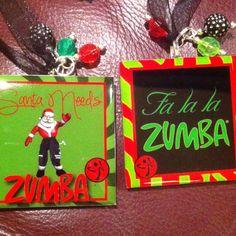 My Zumba Christmas ornaments! Made by Gabbie Goodies on Facebook. Gotta love Santa in Zumba pants :-)
