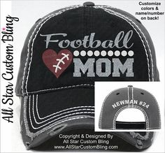 Football Mom Hat, Football Mom Distressed Hat, Glitter Football Mom Hat, Custom Football Hat, Personalized Football Mom Hat