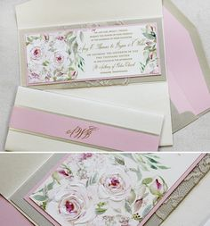 Pink roses watercolor wedding invites individually painted with sheer shimmering inks.  #flowerweddinginvites #handpainted #weddinginvites  #momentaldesigns