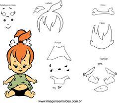 Molde dos Flinstones para Eva, Feltro e Artesanatos Classic Cartoon Characters, Classic Cartoons, Felt Animal Patterns, Stuffed Animal Patterns, Imprimibles Toy Story Gratis, Pebbles And Bam Bam, Pebbles Flintstone, Fun Crafts, Paper Crafts