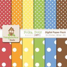 Polka Dot Scrapbook Paper Instant Download by BunglehouseStudio