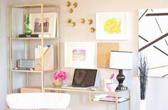 A Joyful Melody: Office Refurb on the Cheap: Ikea Vittsjo Hack   Office Design   feminine glam hollywood regency