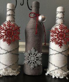 Christmas. Holidays. Wine Bottle Decor. Craft Bottles. Glass Bottle Art. Home Decor. Yarn Bottles. Centerpieces. Vases. Displays. by ISDdesignstudio on Etsy