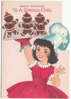 Vintage Birthday Greeting Card #vintage #birthday #gingerbread