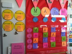 "Math Station board - how to do rotations and topics for each - Love the use of the letters in ""MATH"" as identifiers for each station. Image only"