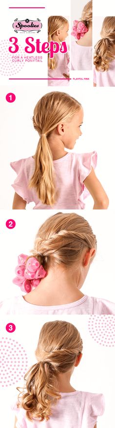 1 2 3 Easy Curly Pony with Spoolies heatless hair curlers!   1. Secure hair in a low or high ponytail. 2. Separate ponytail into 1in strands and wrap each strand around a curler (fold the top of curler to hold each strand securely). 3. Wait 30mins -1hr to remove curlers (leave-in longer for a tighter curl).