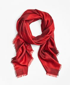 """The Brooks Brothers Women's Collection by Creative Director Zac Posen<br><br>A timeless buffalo-check pattern defines this effortlessly chic oversized square scarf. Crafted in Italy, this classic silk-blend accent is edged in eyelash fringe.<br><br>71"""" x 71""""; 60% viscose, 40% silk; dry-clean; made in Italy."""