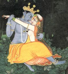 Come, Radha, come. Krishna follows your every desire. 'Soil my bed with indigo footprints, Kamini, lay waste the grove savage it with your petal-soft feet. 'I take your feet in lotus hands, Kamini, you have come far. Lay those gold flaring anklets across my bed. 'Let yes yes flow from your mouth like amrita. From your breasts, Kamini, I draw off the dukula-cloth. We are no longer separate.'