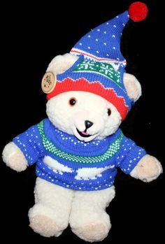 "Lever Bros Snuggle Christmas Sweater Hat Bear Russ Berrie 10 "" Plush Fair Isle #SnuggleBear"