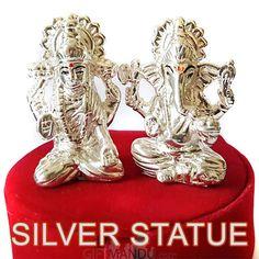 Silver Ganesh Ji and Laxmi Ji Statue Set in Gift Box
