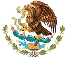 Mexico's Coat of Arms - Mexican Government...Mexico's Coat of Arms features an eagle on top of a cactus with a snake in its mouth: Aztec symbolism for the founding of Tenochtitlán/Mexico City.