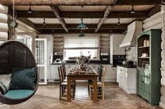 Rustic-chic log cabin style house in the countryside of Moscow – rustic home interior Cabin Style Homes, Log Homes, Loft Stil, Best Home Interior Design, Studio Interior, Cabin Interiors, Wooden House, Cuisines Design, Design Case