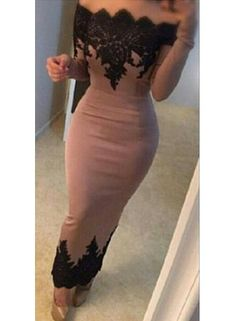 2016 Black Lace Applique Mermaid Evening Gowns Off the Shoulder Long Sleeved Formal Women's Party Dresses
