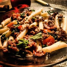 Penne with Sausage Meat and Arugula.... So delicious, 10 minutes to make from start to finish, a quick easy meal....