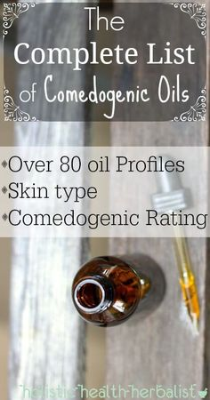 The Complete List of Comedogenic Oils - Holistic Health Herbalist - Care - Skin care , beauty ideas and skin care tips Essential Oils For Rosacea, Essential Oil Carrier Oils, Essential Oil Uses, Organic Skin Care, Natural Skin Care, Natural Beauty, Comedogenic Ratings, Argan Oil Comedogenic Rating, Non Comedogenic Oils