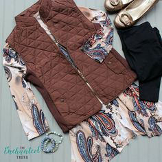 Bailey quilted vest in Cocoa Brown with gold zipper and snaps