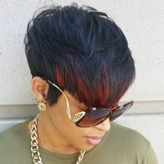 short black hairstyle with red bangs