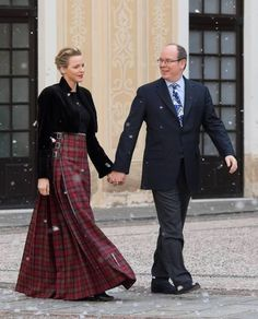 HSH Princess Charlene of Monaco wearing her bespoke Kilt dress with HSH Prince Albert of Monaco red plaid