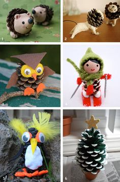 It was a Christmas tree made out of a lot of pine cones. I was curious what other crafts we could do with pine con… Pine Cone Art, Pine Cone Crafts, Pine Cones, Noel Christmas, Christmas Crafts For Kids, Holiday Crafts, Cute Crafts, Crafts To Make, Arts And Crafts