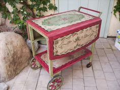 Image detail for -Hand Painted Antique Tea Cart by sandy562 on Etsy