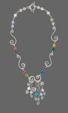 b6766194cb34a Get fresh ideas and Inspiration from this fashionable jewelry piece -  Single-Strand Necklace with Sterling Silver Wire and Swarovski Crystal  Beads .