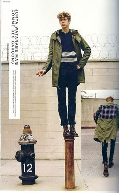 A Japanese magazine editorial featuring Junya Watanabe Fishtail Parka from Anti Fashion, Mens Fashion, Fashion Menswear, Street Fashion, Street Look, Street Wear, Cool Boys Clothes, Fishtail Parka, Green Parka