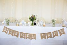 Top Table Personalised Bunting Hessian Pretty Fresh Summer Wedding http://www.charlotterazzellphotography.com/