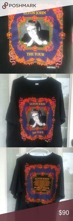 0b716b82 Vintage Elton John T-shirt by Versace (unisex) Vintage Elton John World Tour
