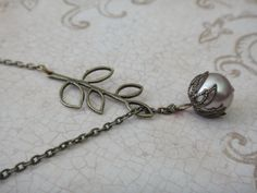 Champagne Pearl Lariat Necklace by amula on Etsy, $12.00: LOVE THIS DESIGNER!!!