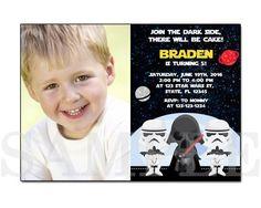 PB0006 STAR WARS PRINTABLE BIRTHDAY PARTY INVITATION CARDS the Star Wars The force awakens photo invitation B