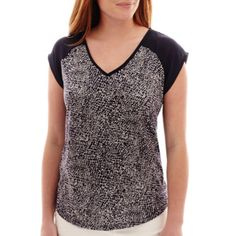 Liz Claiborne® Cap-Sleeve Mixed Media V-Neck Top  found at @JCPenney