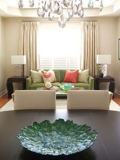 South Shore Decorating Blog: The Top 100 Benjamin Moore Paint Colors  **I know it's a site for paint but...love the green couch and the Pier 1 dish!