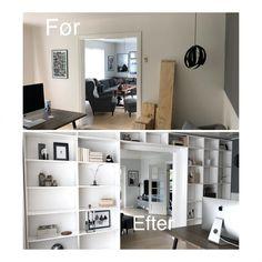 DIY – Hjemmebygget væg til væg bogreol | livingonabudgetdk Room Interior, Interior Design Living Room, Interior And Exterior, Small Space Living, Small Spaces, Built In Furniture, Villa, My Room, Interior Inspiration