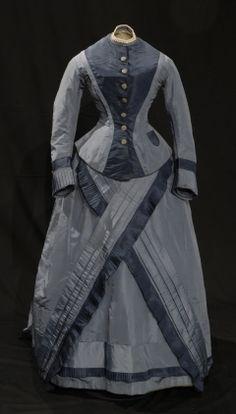 c. 1874 dress  material: silk, saxe, & tarlatan