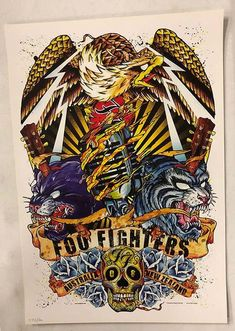 Original concert poster for Foo Fighters in Australia and New Zealand in 2008. 18.25 x 27.5 inches. Numbered out of 500 by the artist Rhys Cooper.